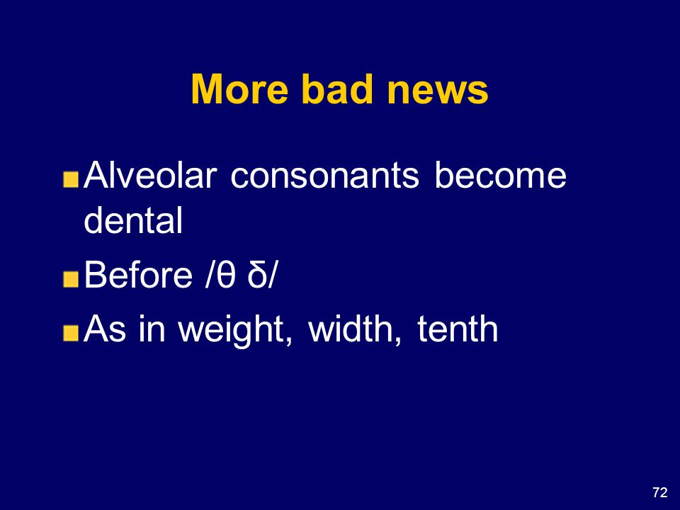 More bad news Alveolar consonants become dental Before /θ δ/