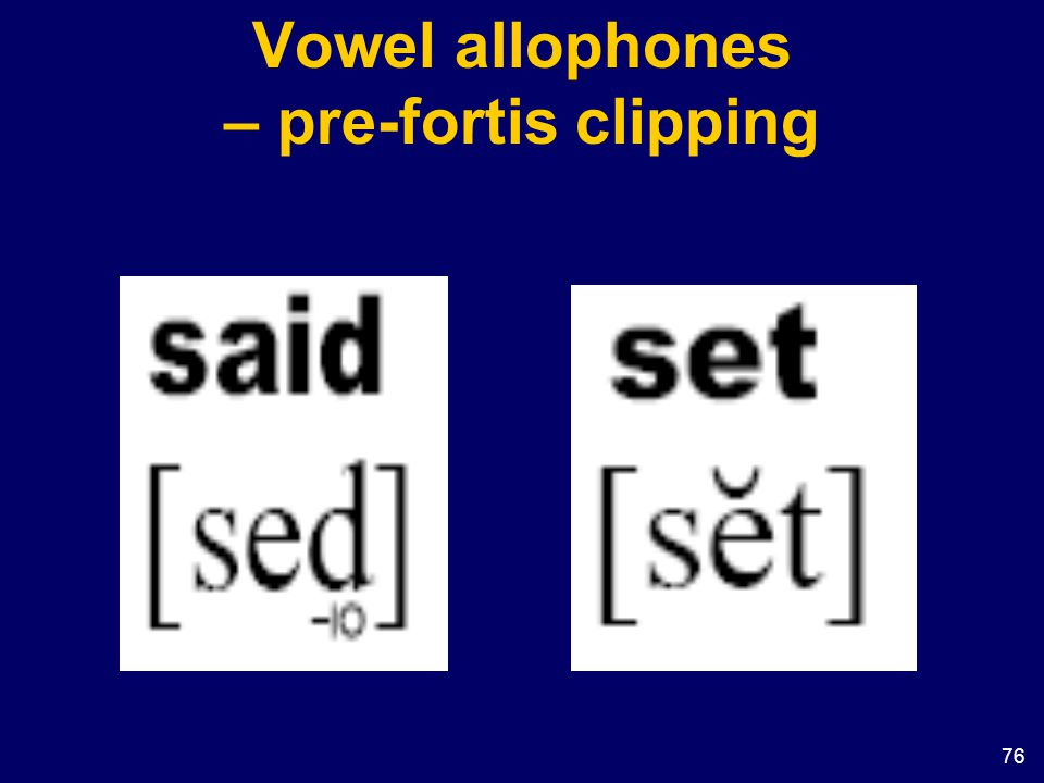 Vowel allophones – pre-fortis clipping