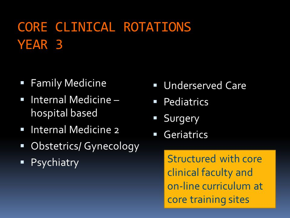 CORE CLINICAL ROTATIONS YEAR 3