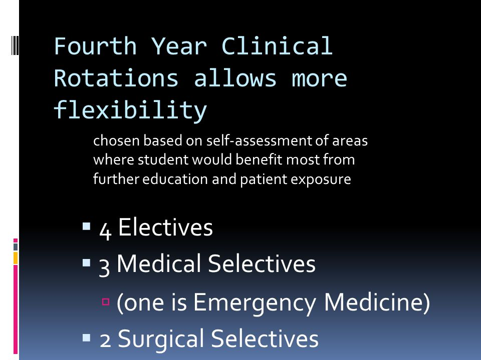 Fourth Year Clinical Rotations allows more flexibility