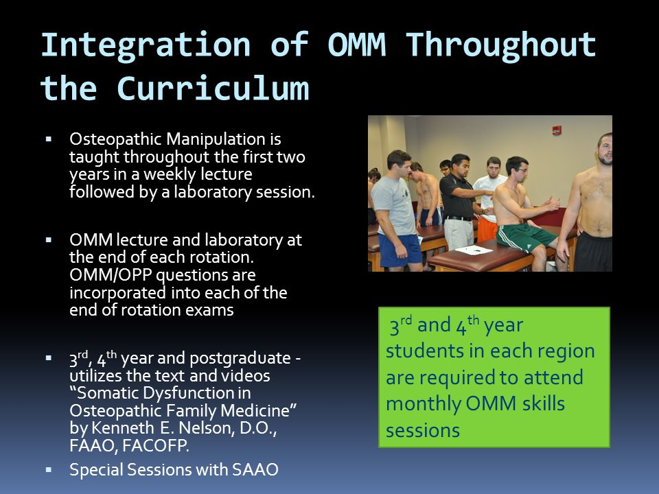 Integration of OMM Throughout the Curriculum