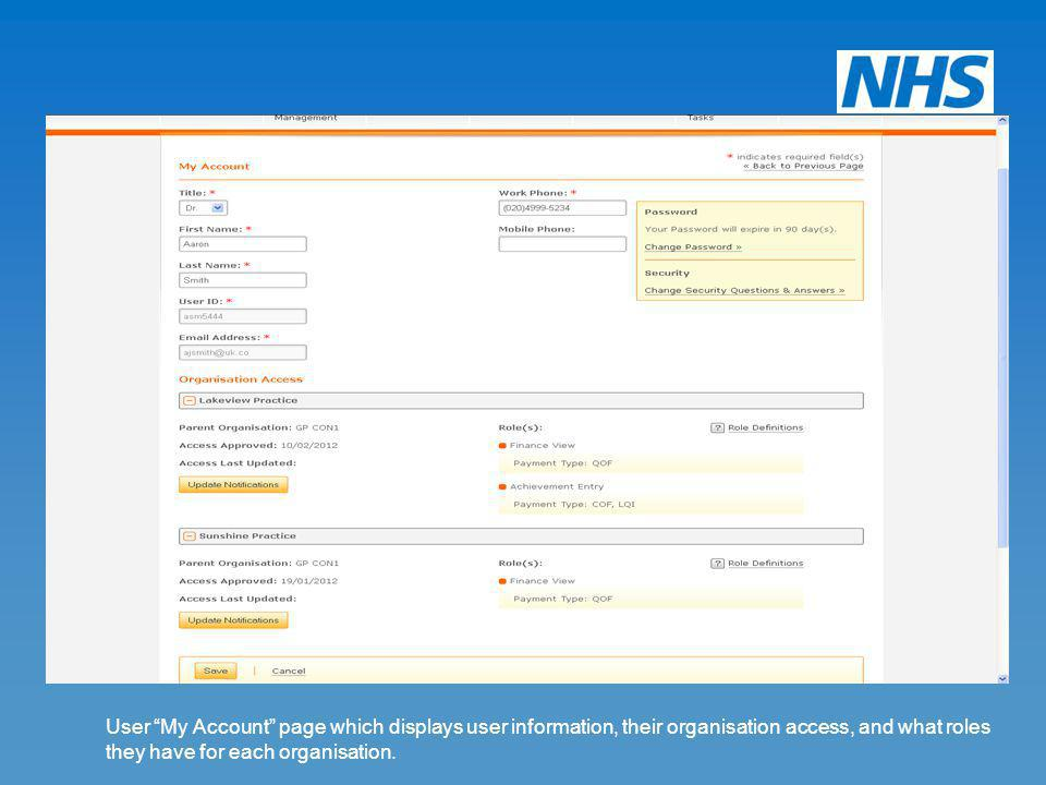 User My Account page which displays user information, their organisation access, and what roles they have for each organisation.