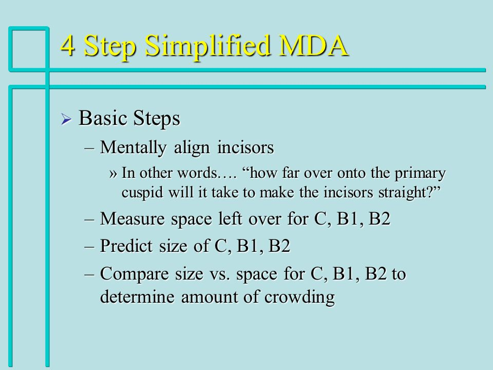 4 Step Simplified MDA Basic Steps Mentally align incisors