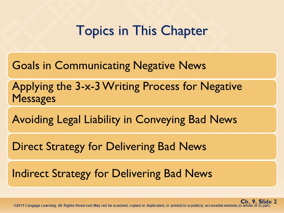Topics in This Chapter Goals in Communicating Negative News