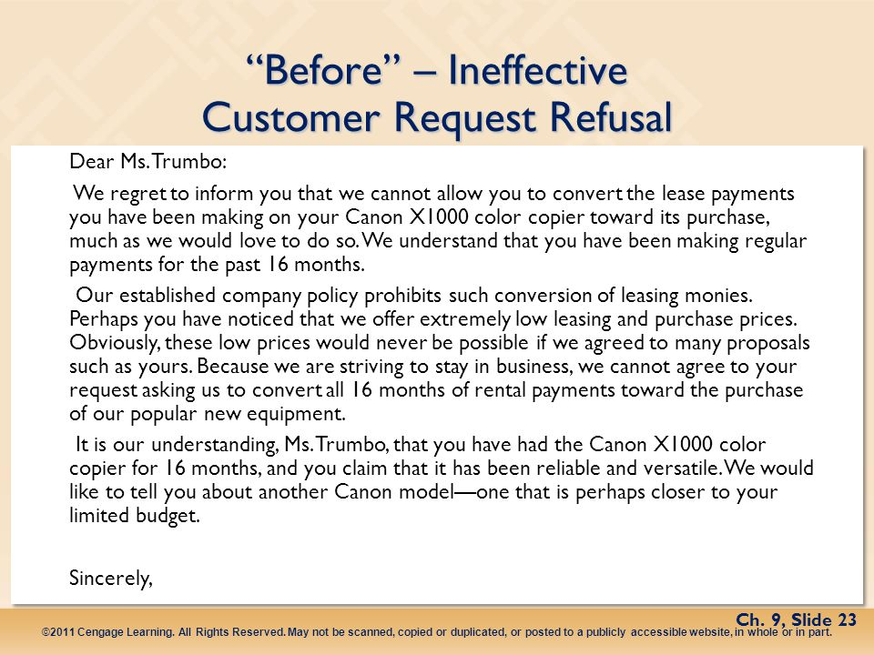 Before – Ineffective Customer Request Refusal