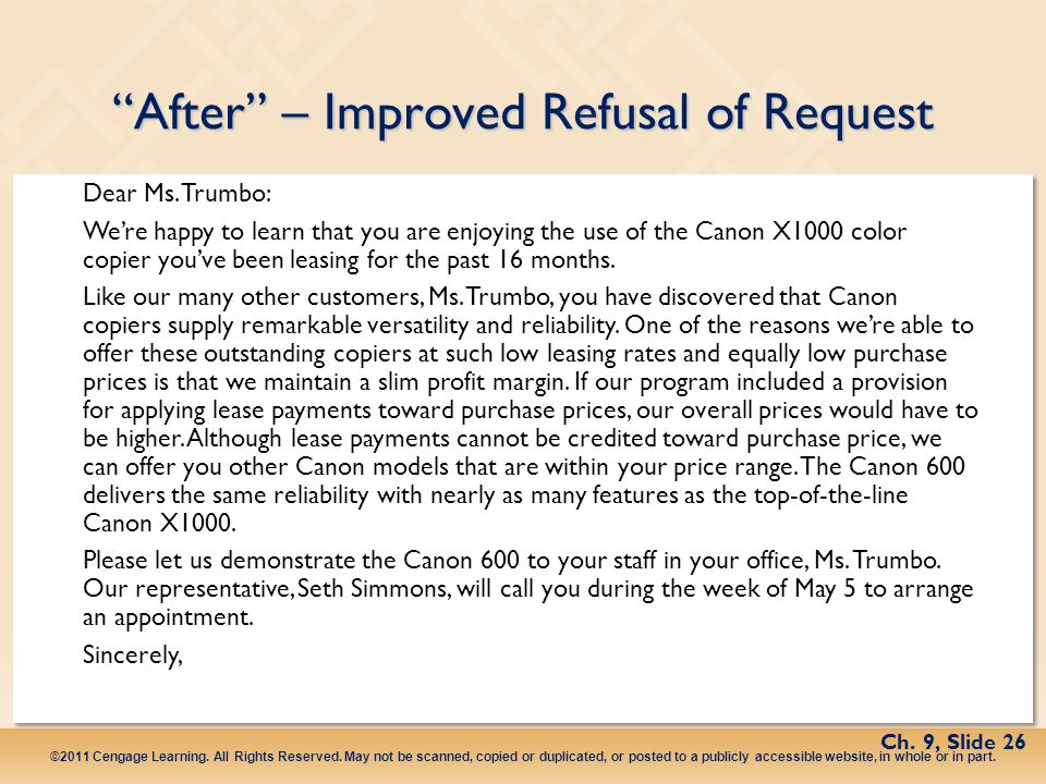 After – Improved Refusal of Request