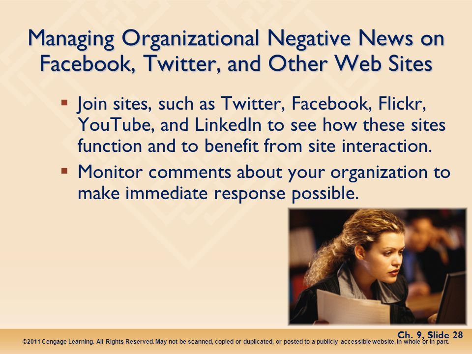 Managing Organizational Negative News on Facebook, Twitter, and Other Web Sites