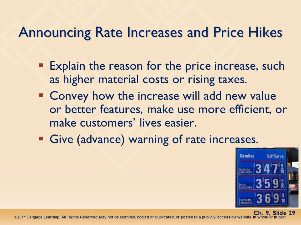 Announcing Rate Increases and Price Hikes