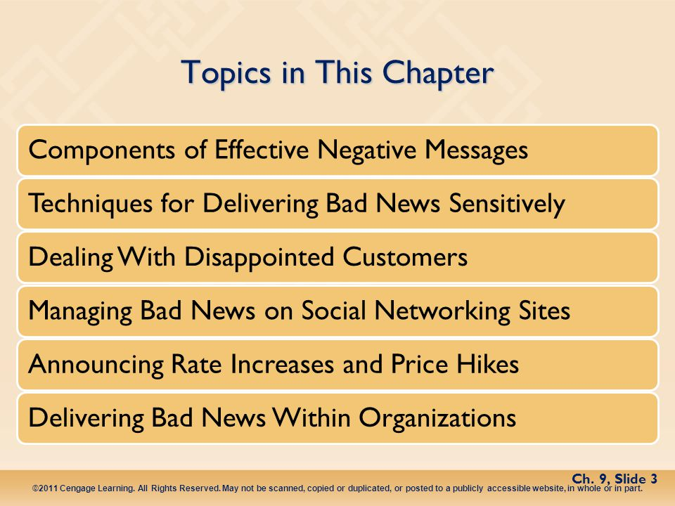 Topics in This Chapter Components of Effective Negative Messages