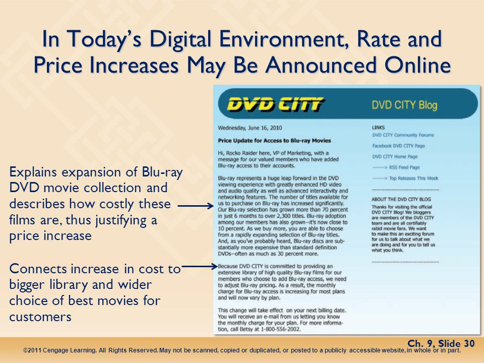In Today's Digital Environment, Rate and Price Increases May Be Announced Online