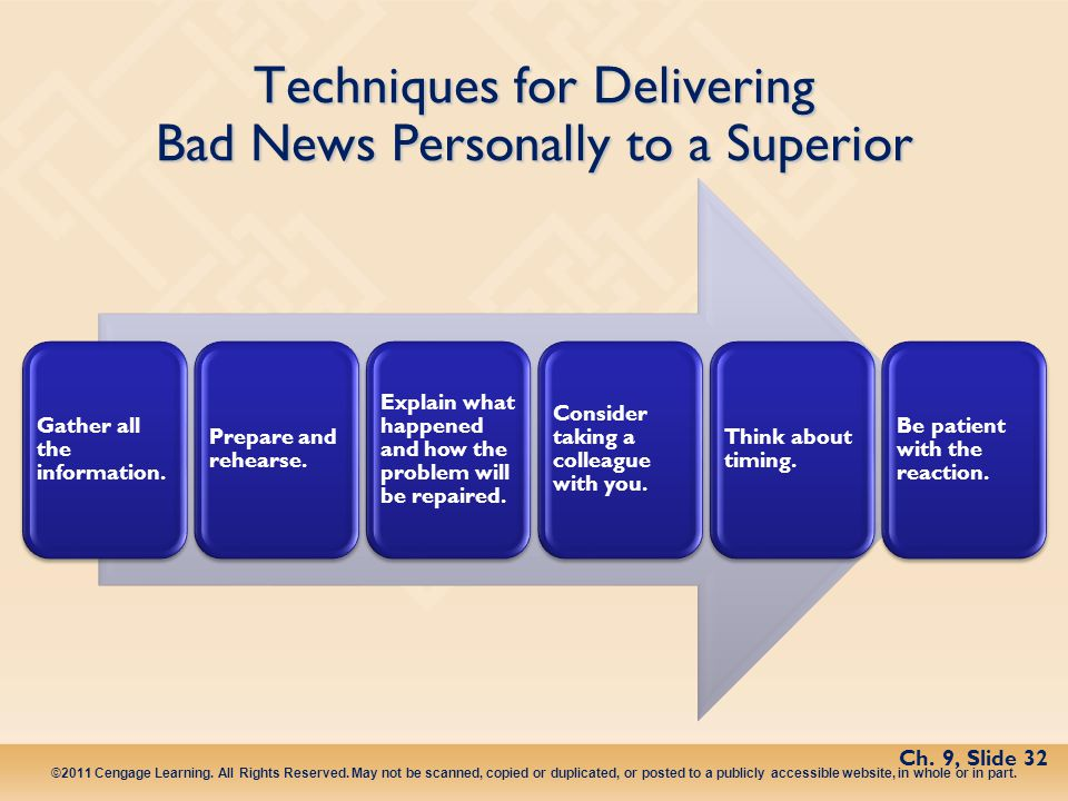 Techniques for Delivering Bad News Personally to a Superior