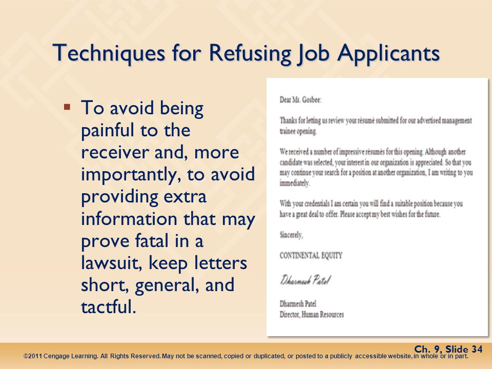 Techniques for Refusing Job Applicants