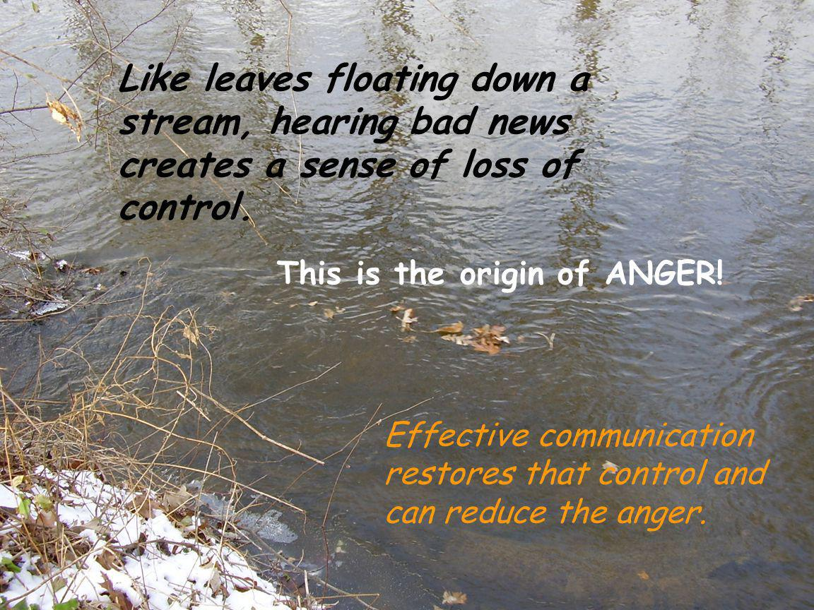Like leaves floating down a stream, hearing bad news creates a sense of loss of control.