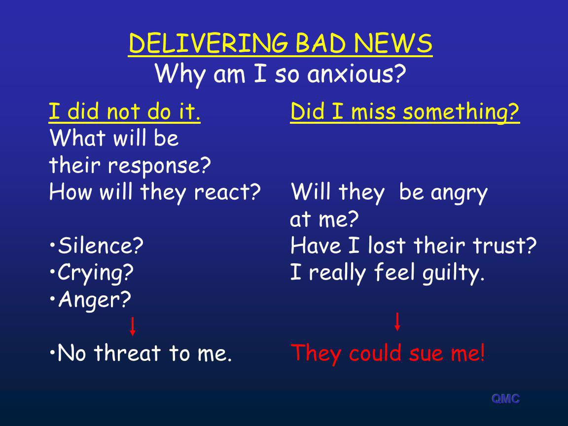 DELIVERING BAD NEWS Why am I so anxious I did not do it. What will be