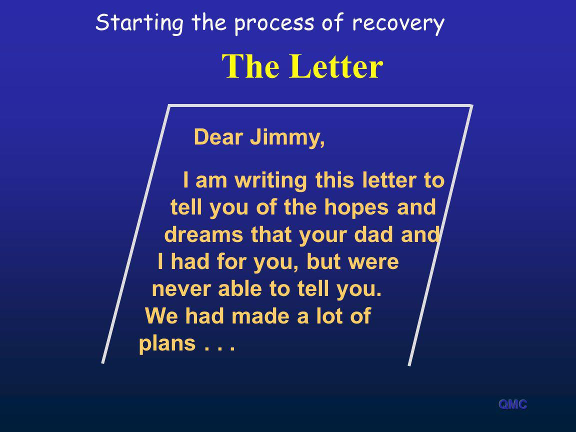 The Letter Starting the process of recovery Dear Jimmy,