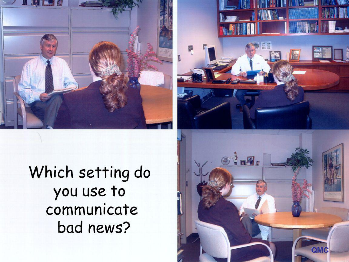 Which setting do you use to communicate bad news QMC QMC