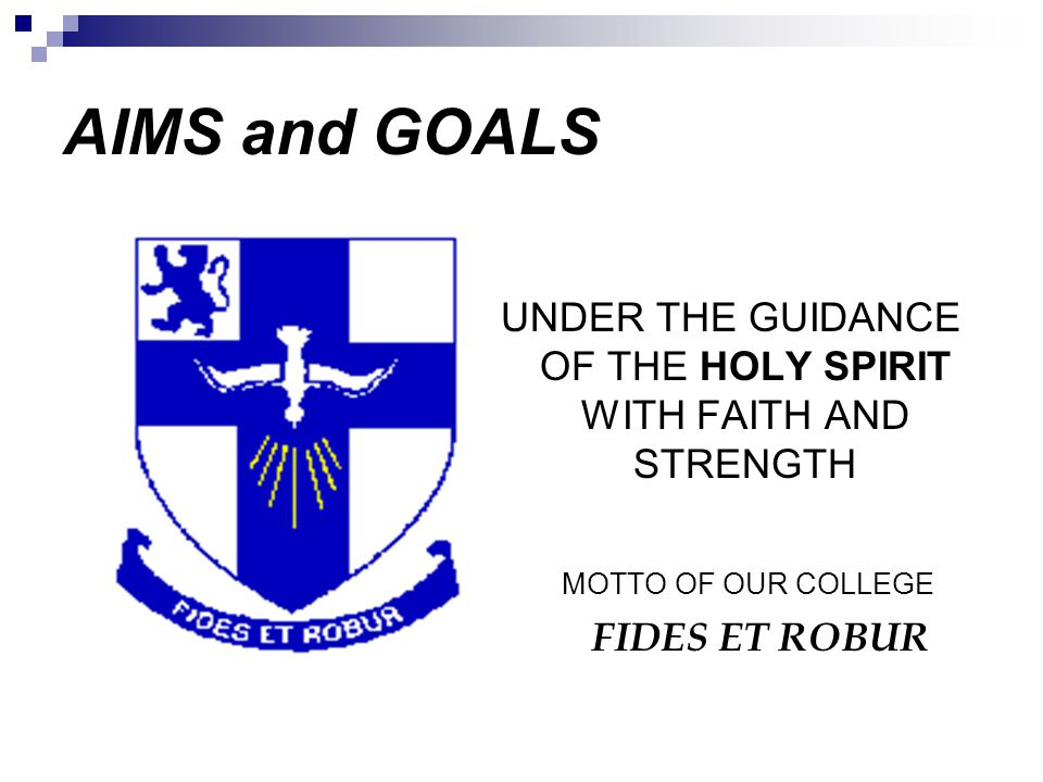 UNDER THE GUIDANCE OF THE HOLY SPIRIT WITH FAITH AND STRENGTH