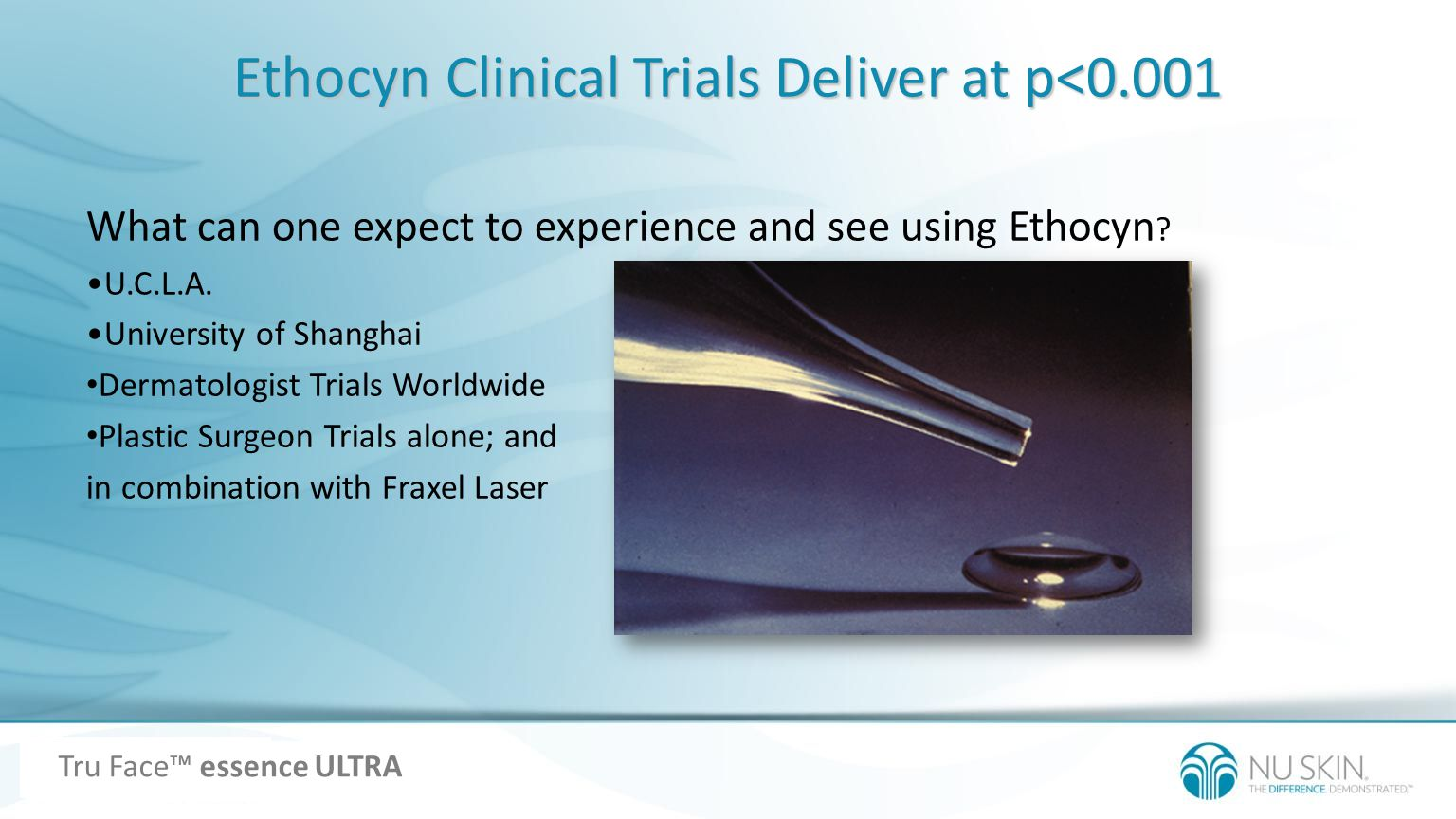 Ethocyn Clinical Trials Deliver at p<0.001