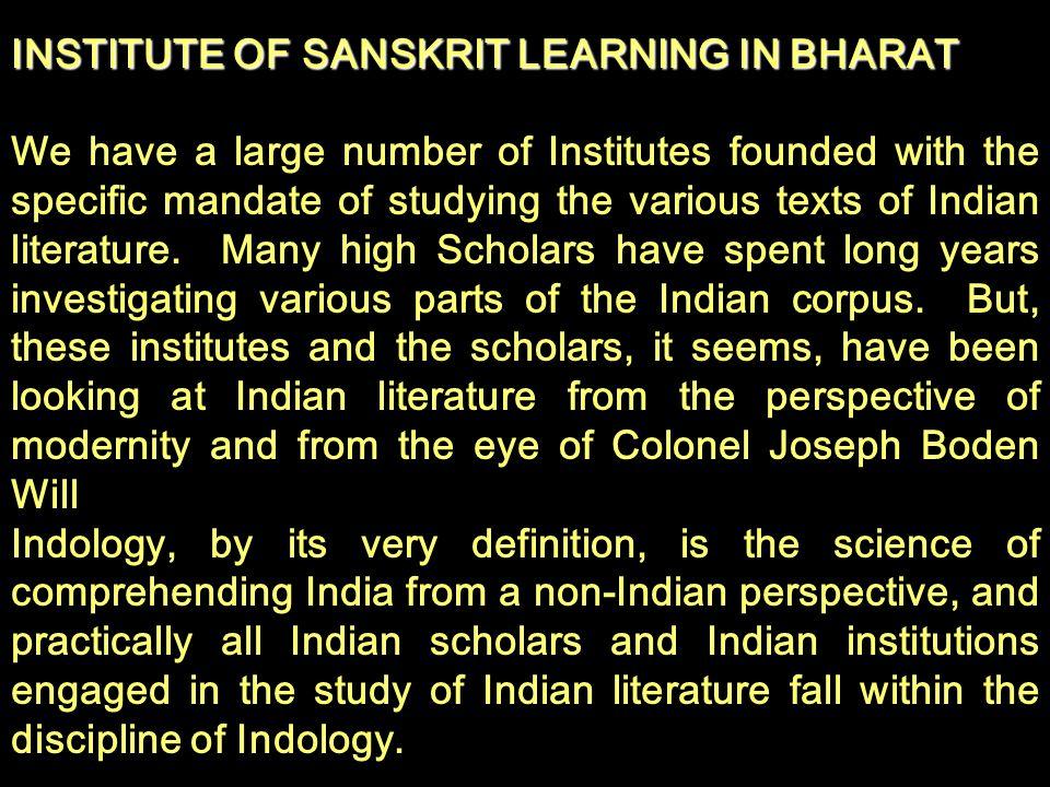 INSTITUTE OF SANSKRIT LEARNING IN BHARAT.