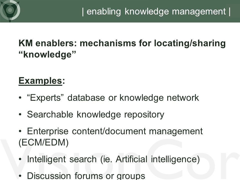 | enabling knowledge management