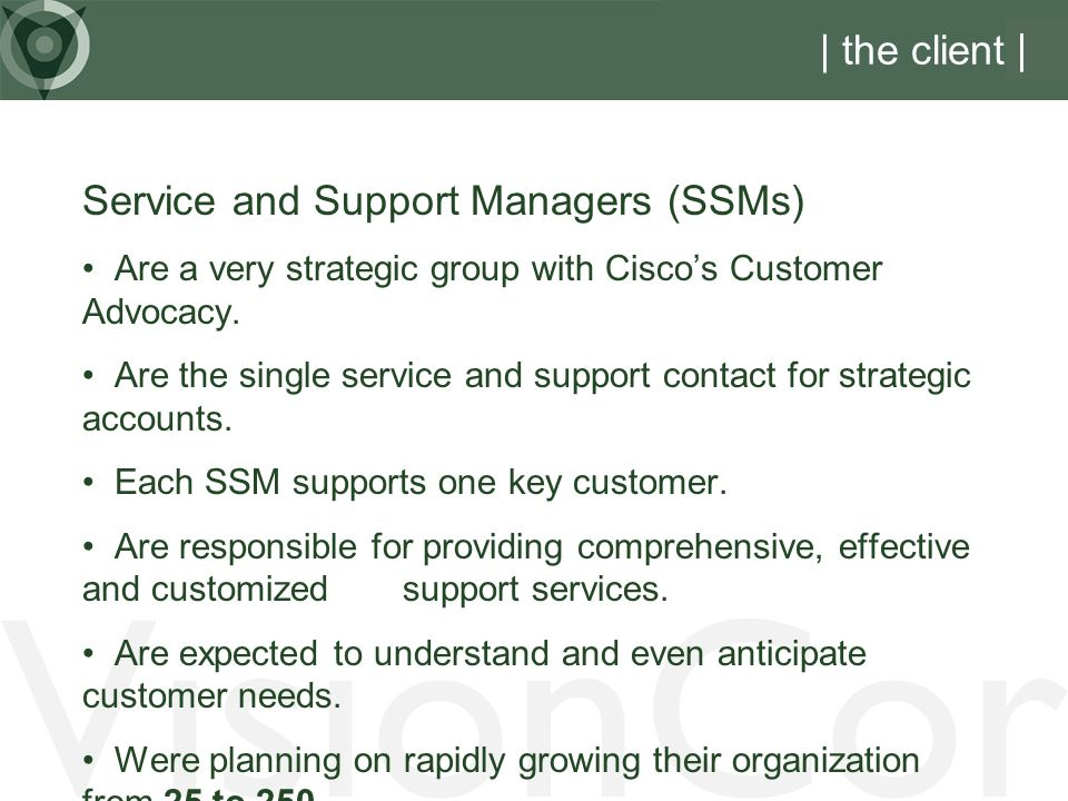 VisionCor | the client | Service and Support Managers (SSMs)
