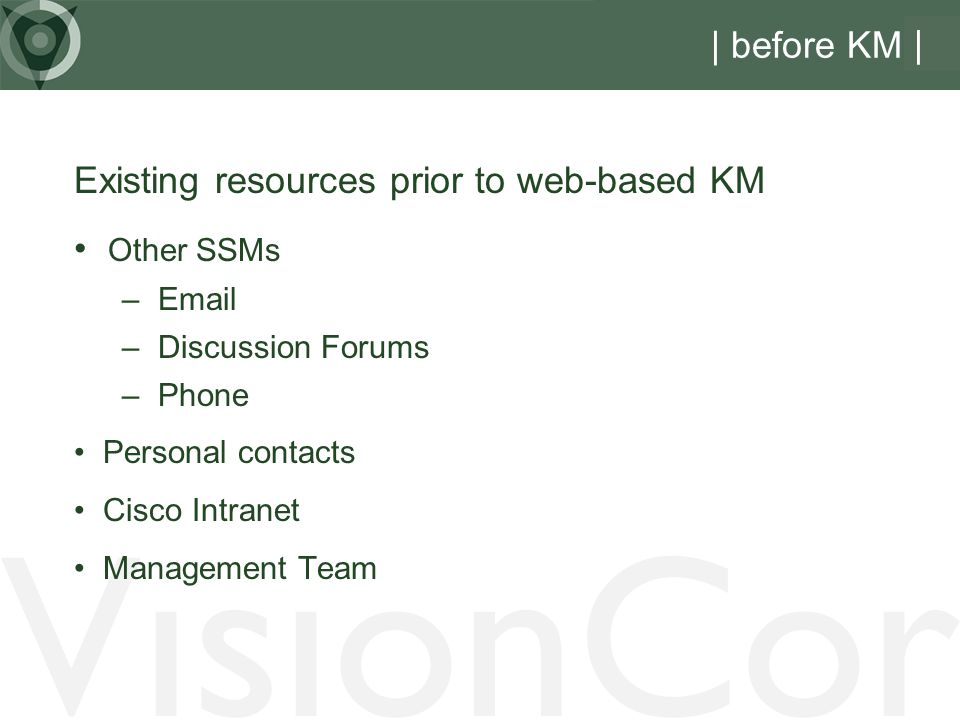 VisionCor | before KM | Existing resources prior to web-based KM