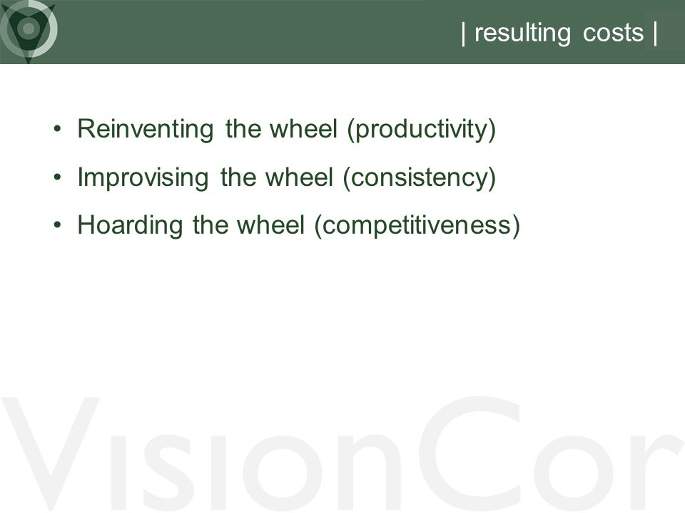 VisionCor | resulting costs | Reinventing the wheel (productivity)