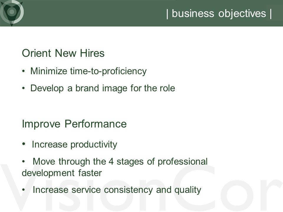 VisionCor | business objectives | Orient New Hires Improve Performance