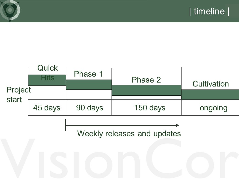 VisionCor | timeline | Quick Hits Phase 1 Phase 2 Cultivation Project