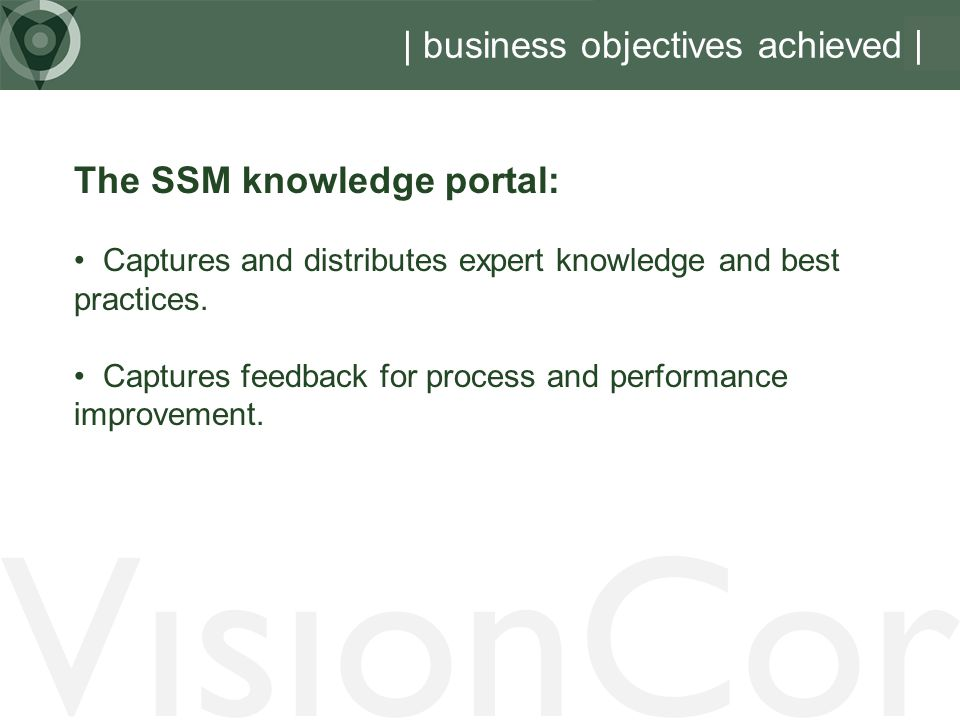 | business objectives achieved