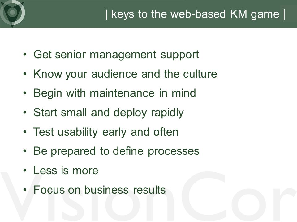 | keys to the web-based KM game