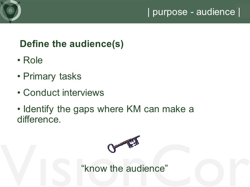 VisionCor | purpose - audience | Define the audience(s) Role
