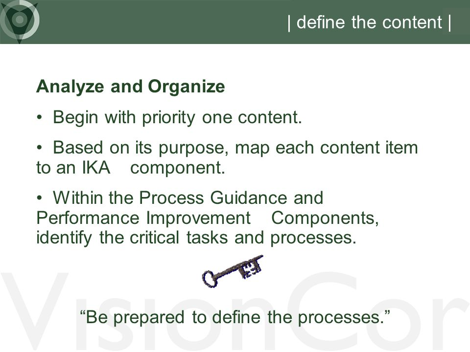 Be prepared to define the processes.