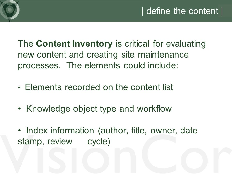 VisionCor | define the content |