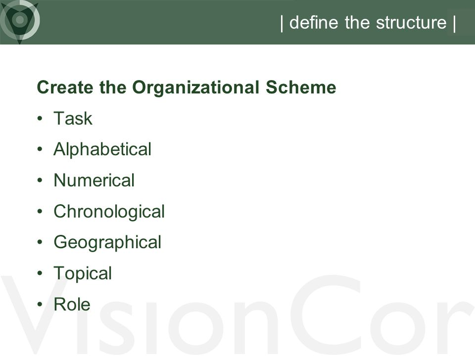VisionCor | define the structure | Create the Organizational Scheme