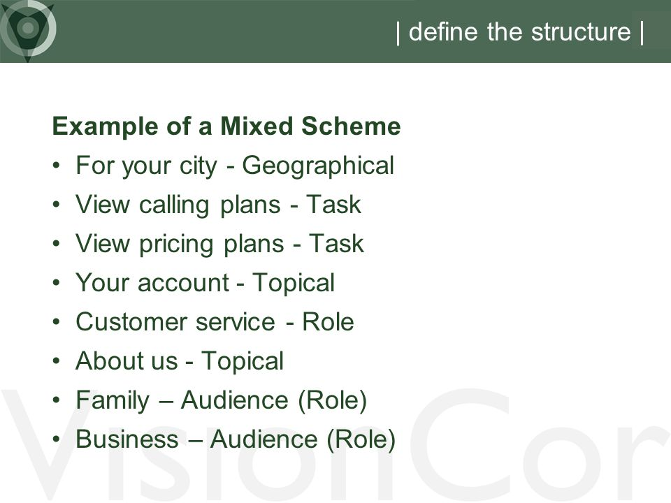 VisionCor | define the structure | Example of a Mixed Scheme