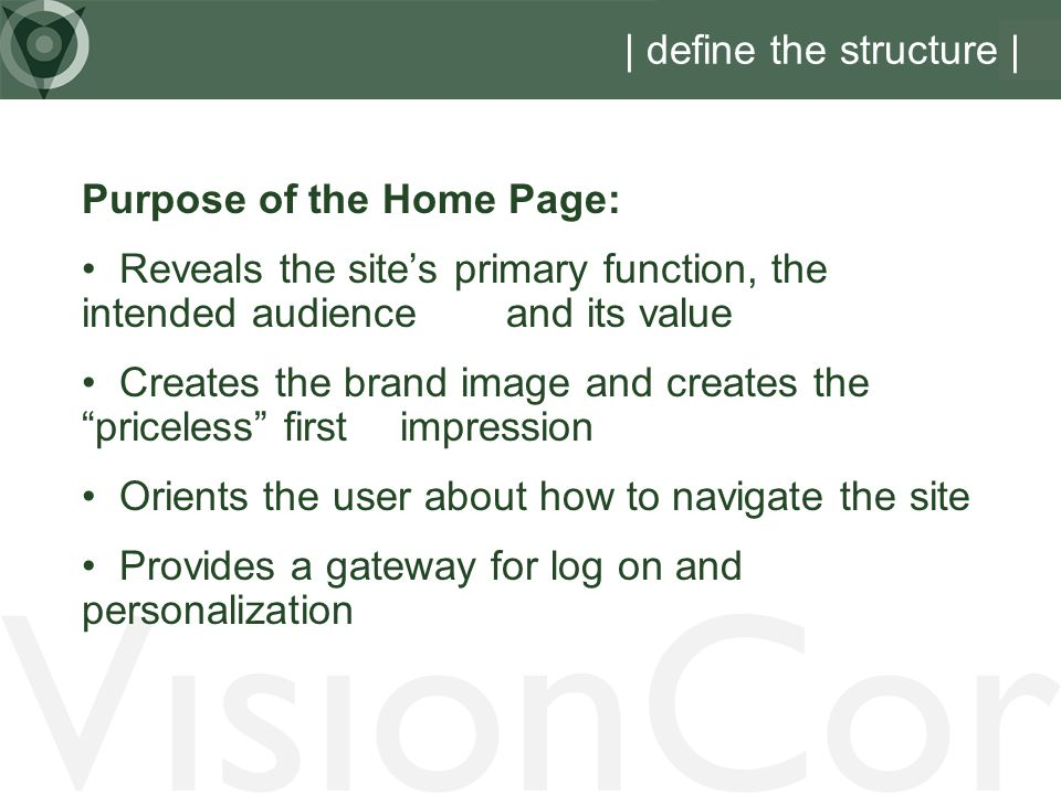 VisionCor | define the structure | Purpose of the Home Page: