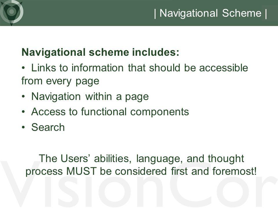 VisionCor | Navigational Scheme | Navigational scheme includes: