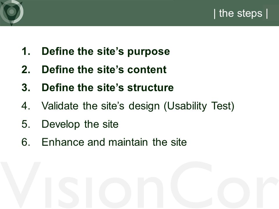 VisionCor | the steps | Define the site's purpose