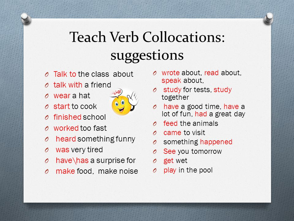 Teach Verb Collocations: suggestions