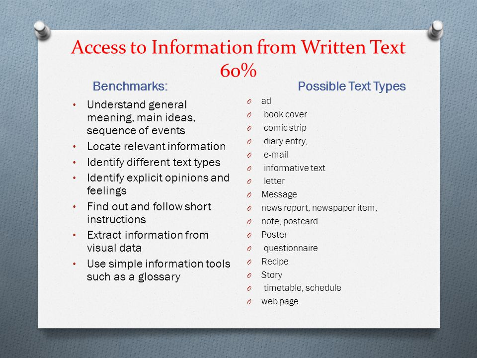 Access to Information from Written Text 60%