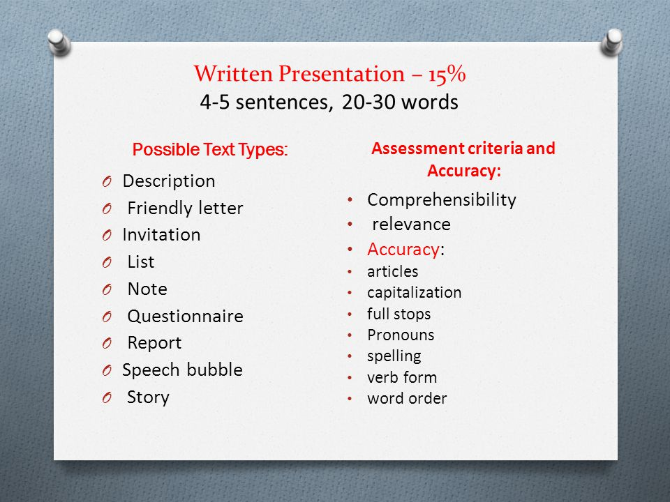 Written Presentation – 15% 4-5 sentences, 20-30 words