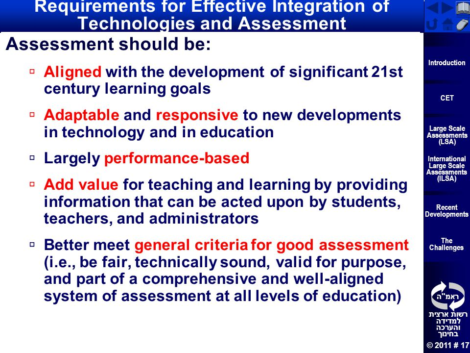 Requirements for Effective Integration of Technologies and Assessment
