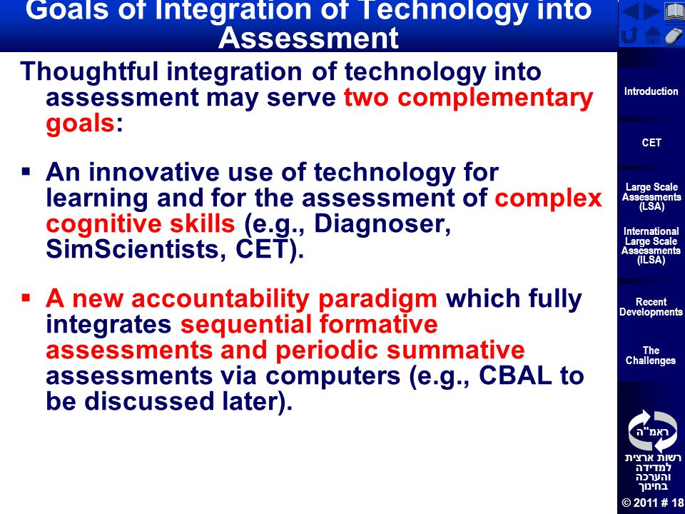 Goals of Integration of Technology into Assessment