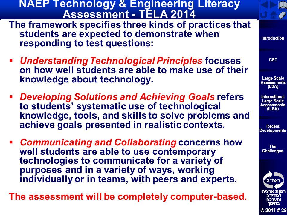 NAEP Technology & Engineering Literacy Assessment - TELA 2014