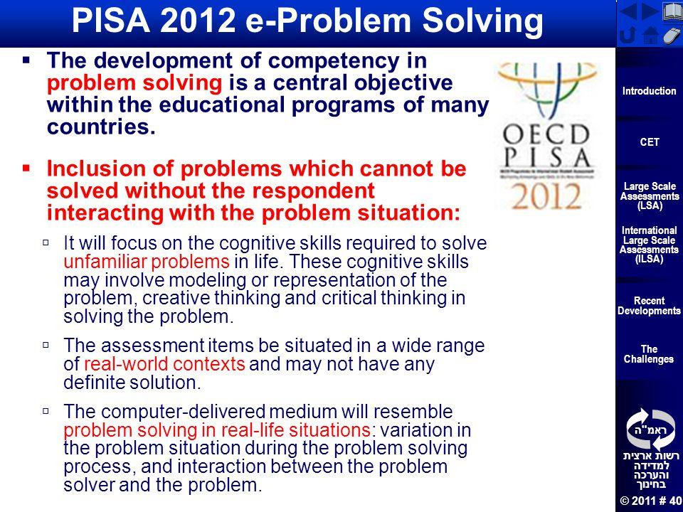 PISA 2012 e-Problem Solving