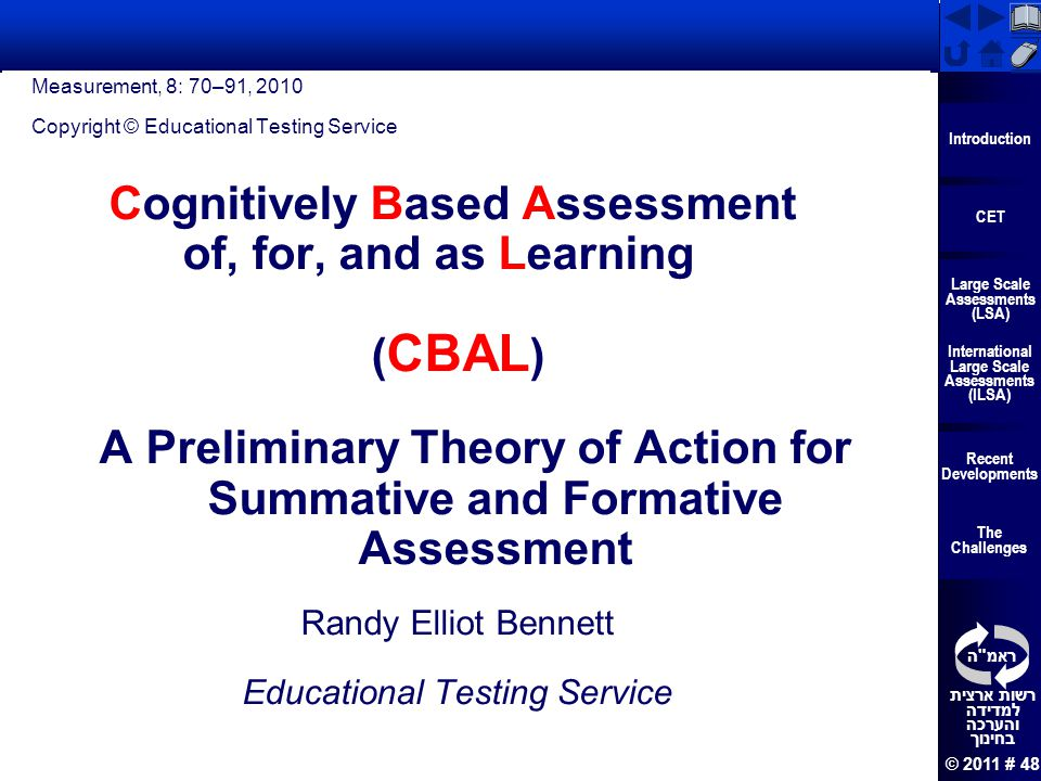 Cognitively Based Assessment of, for, and as Learning