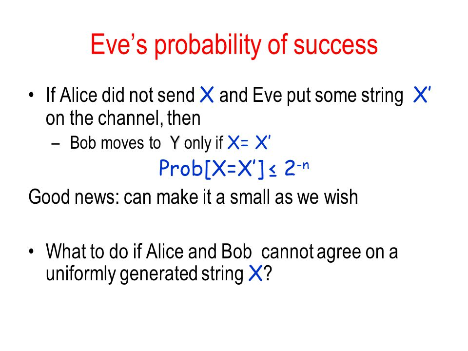 Eve's probability of success