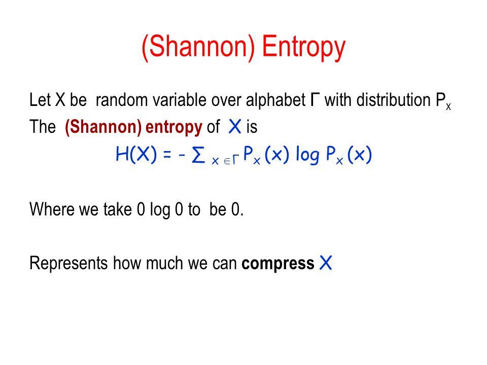 H(X) = - ∑ x Γ Px (x) log Px (x)