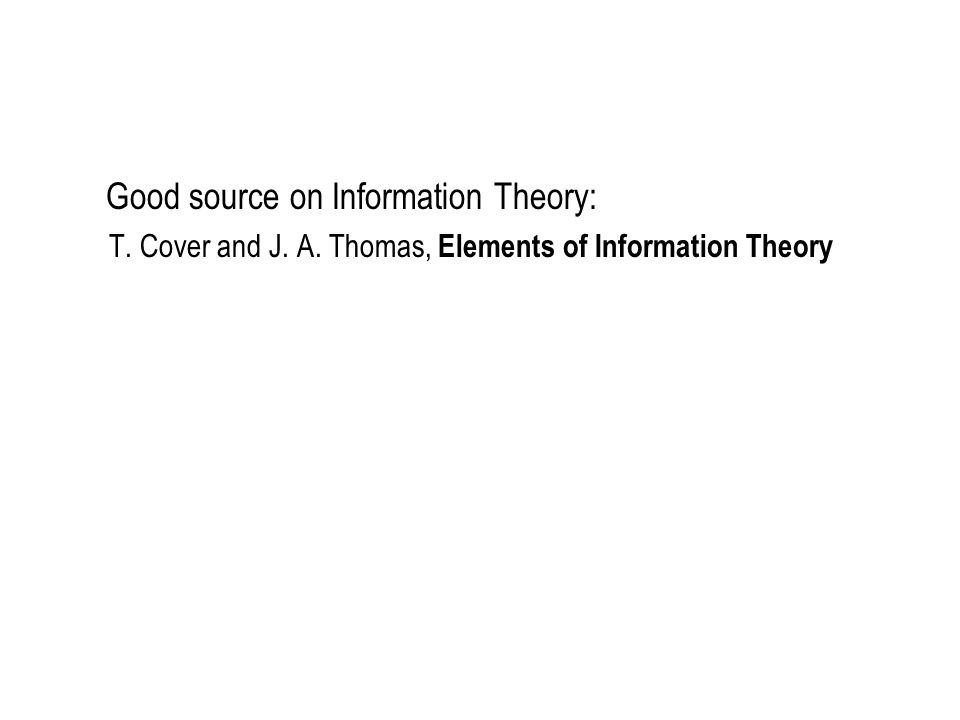 Good source on Information Theory: